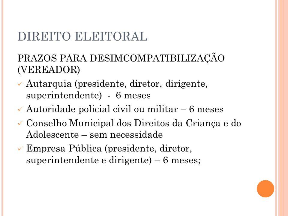 DIREITO ELEITORAL PRAZOS PARA DESIMCOMPATIBILIZAÇÃO (VEREADOR)