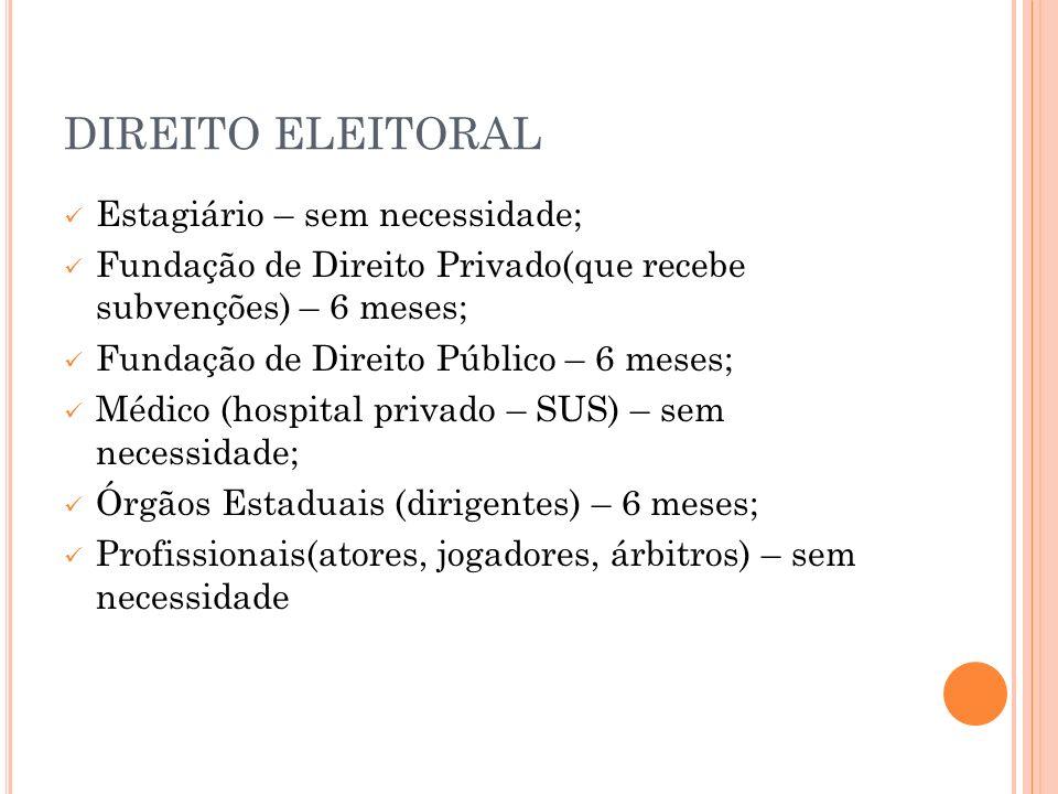 DIREITO ELEITORAL Estagiário – sem necessidade;