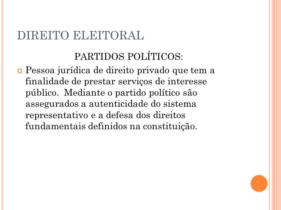 DIREITO ELEITORAL PARTIDOS POLÍTICOS:
