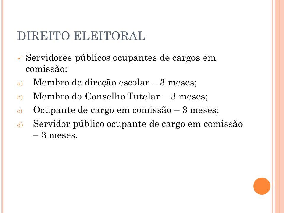 DIREITO ELEITORAL Servidores públicos ocupantes de cargos em comissão: