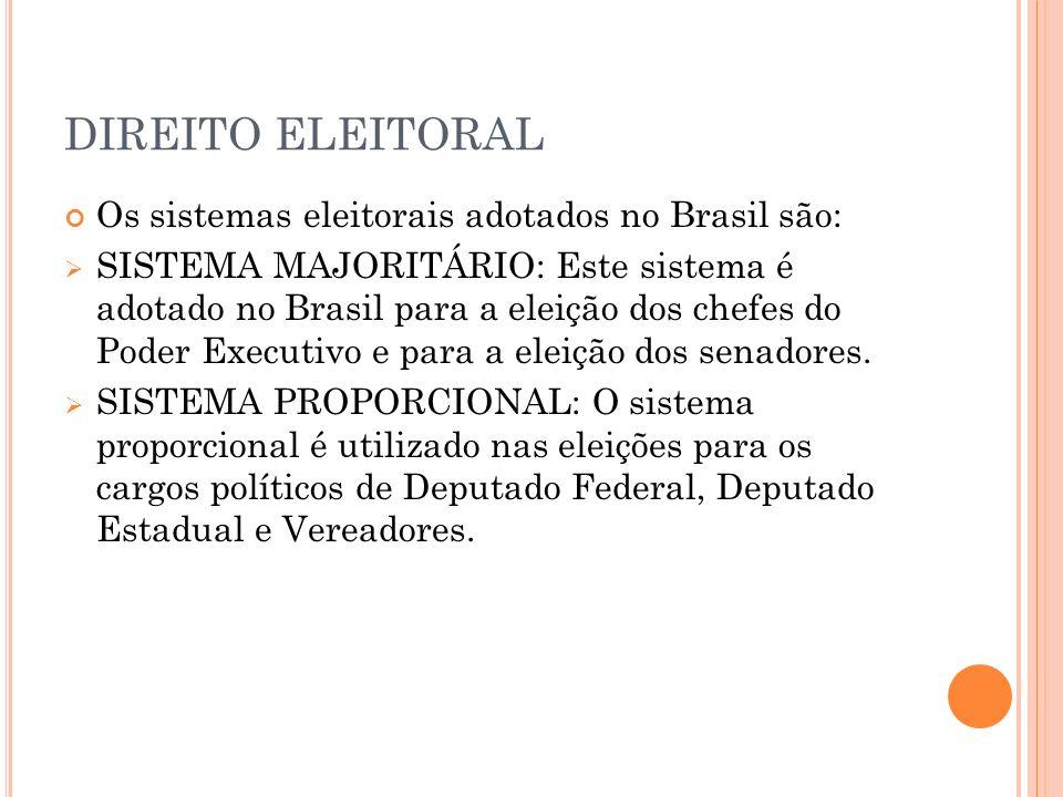 DIREITO ELEITORAL Os sistemas eleitorais adotados no Brasil são: