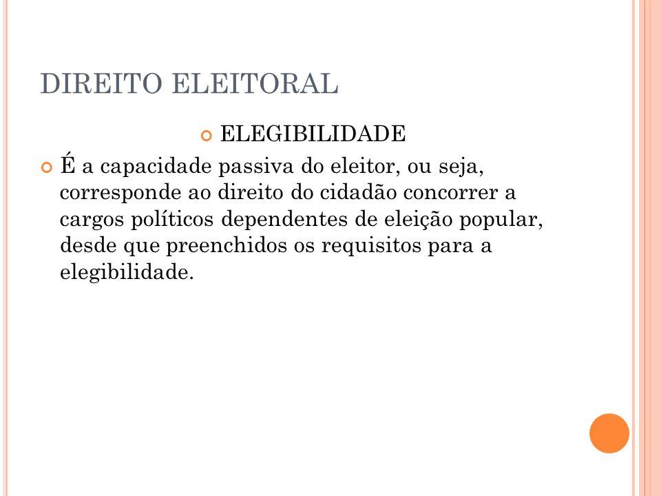 DIREITO ELEITORAL ELEGIBILIDADE