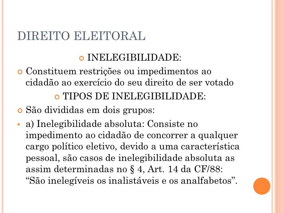 TIPOS DE INELEGIBILIDADE: