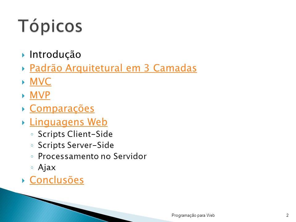 Tópicos Introdução Padrão Arquitetural em 3 Camadas MVC MVP
