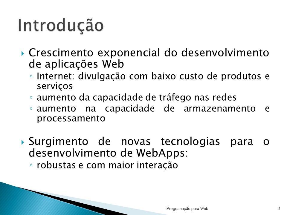 Introdução Crescimento exponencial do desenvolvimento de aplicações Web. Internet: divulgação com baixo custo de produtos e serviços.