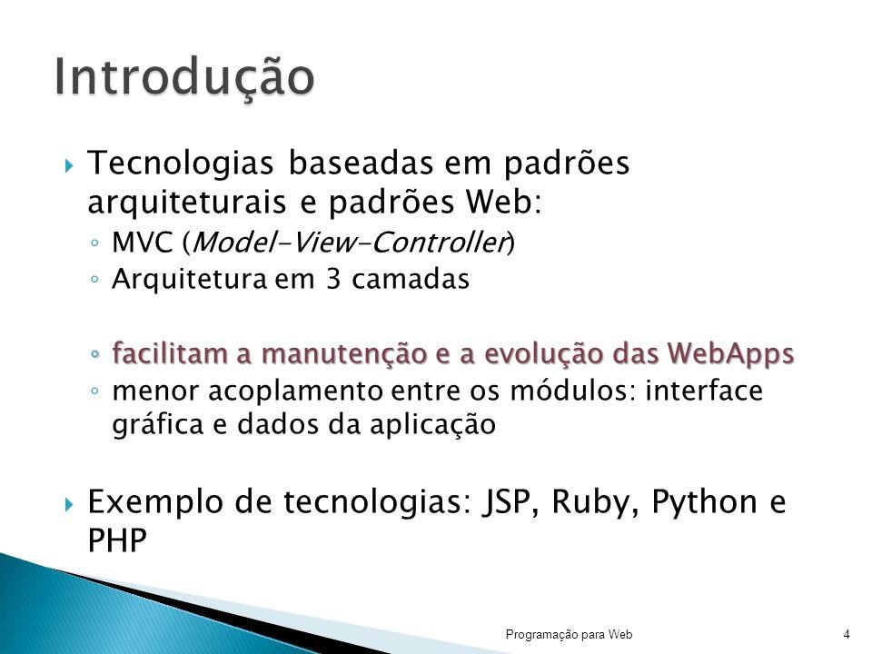 Introdução Tecnologias baseadas em padrões arquiteturais e padrões Web: MVC (Model-View-Controller)