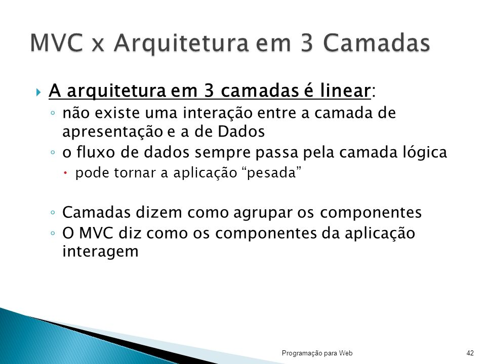 MVC x Arquitetura em 3 Camadas
