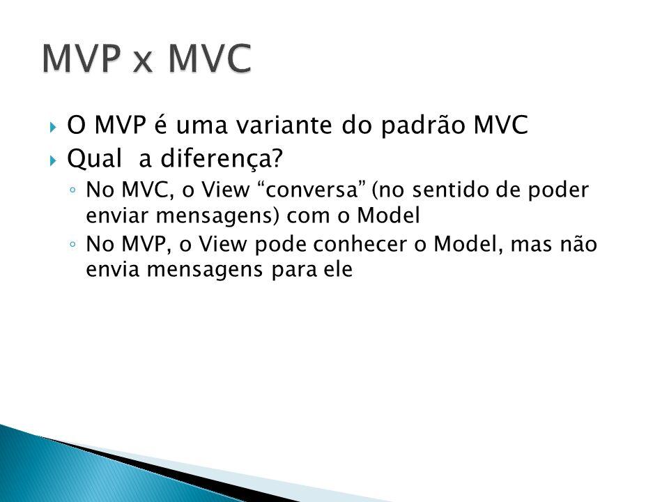 MVP x MVC O MVP é uma variante do padrão MVC Qual a diferença