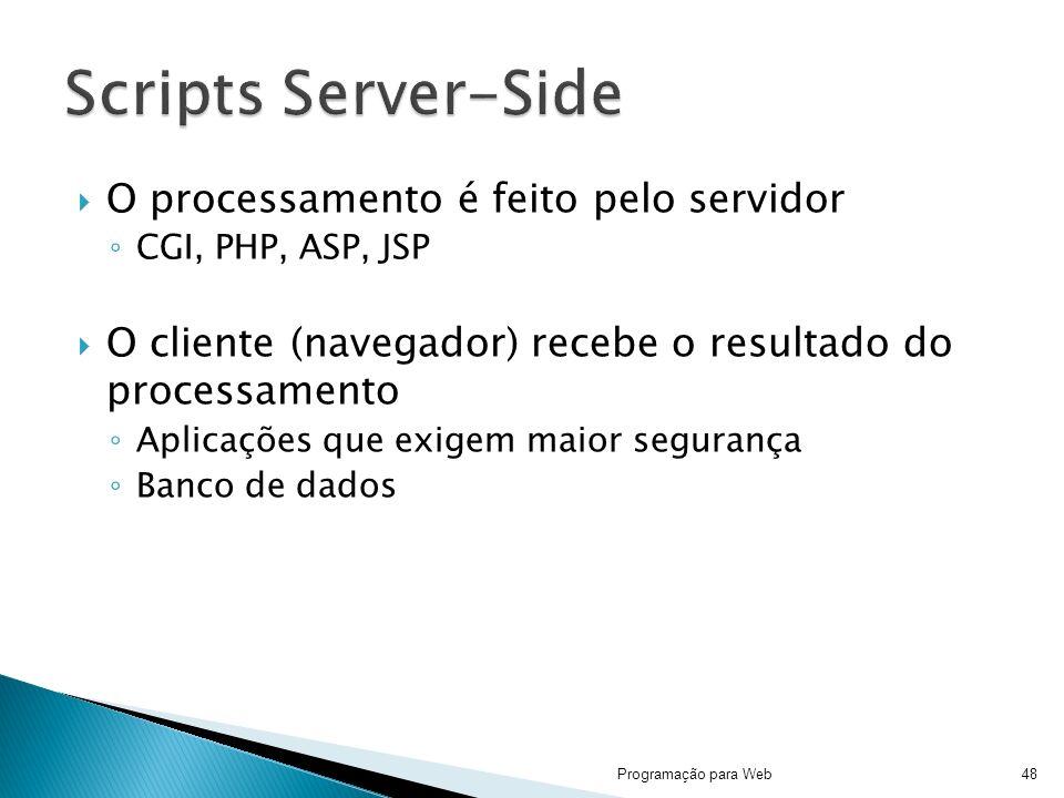 Scripts Server-Side O processamento é feito pelo servidor