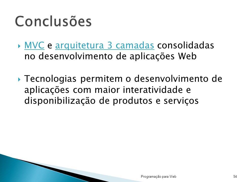 Conclusões MVC e arquitetura 3 camadas consolidadas no desenvolvimento de aplicações Web.