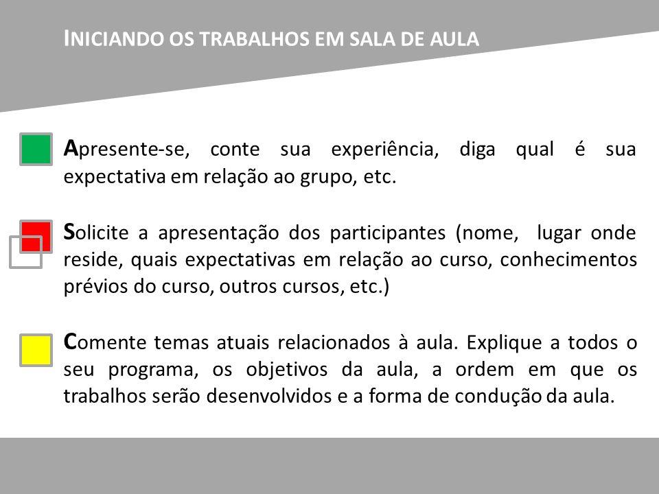 INICIANDO OS TRABALHOS EM SALA DE AULA