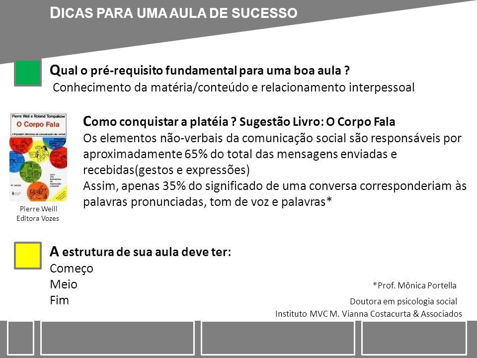 DICAS PARA UMA AULA DE SUCESSO