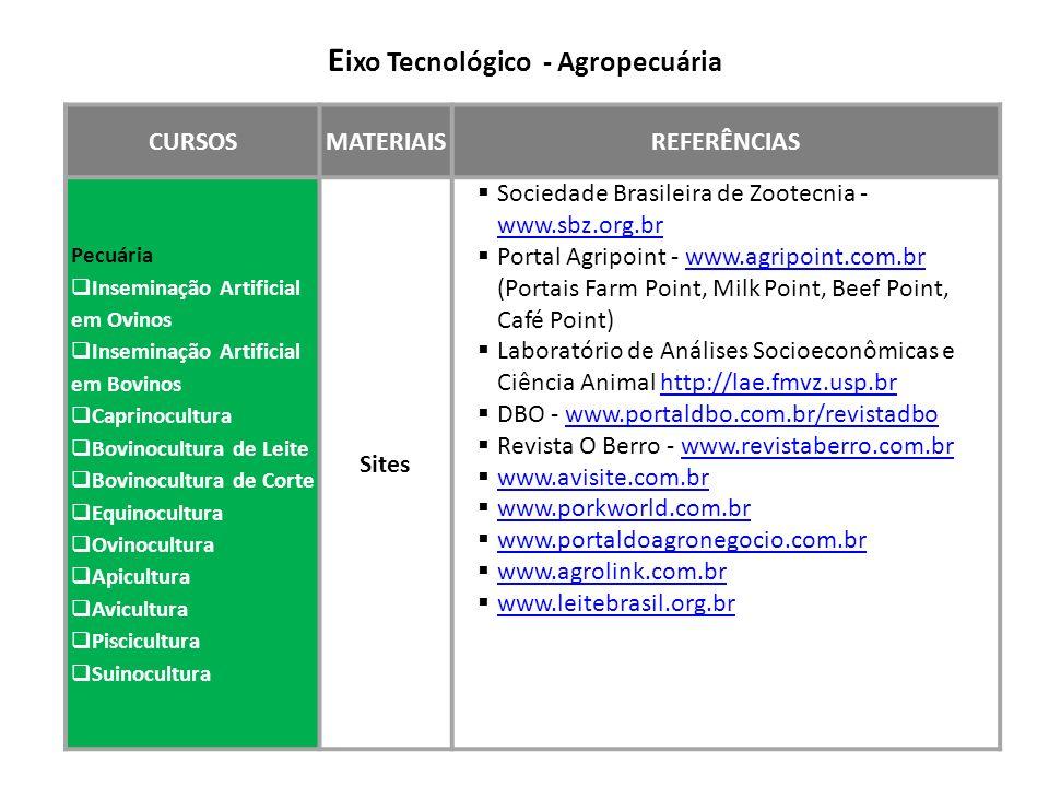 Eixo Tecnológico - Agropecuária