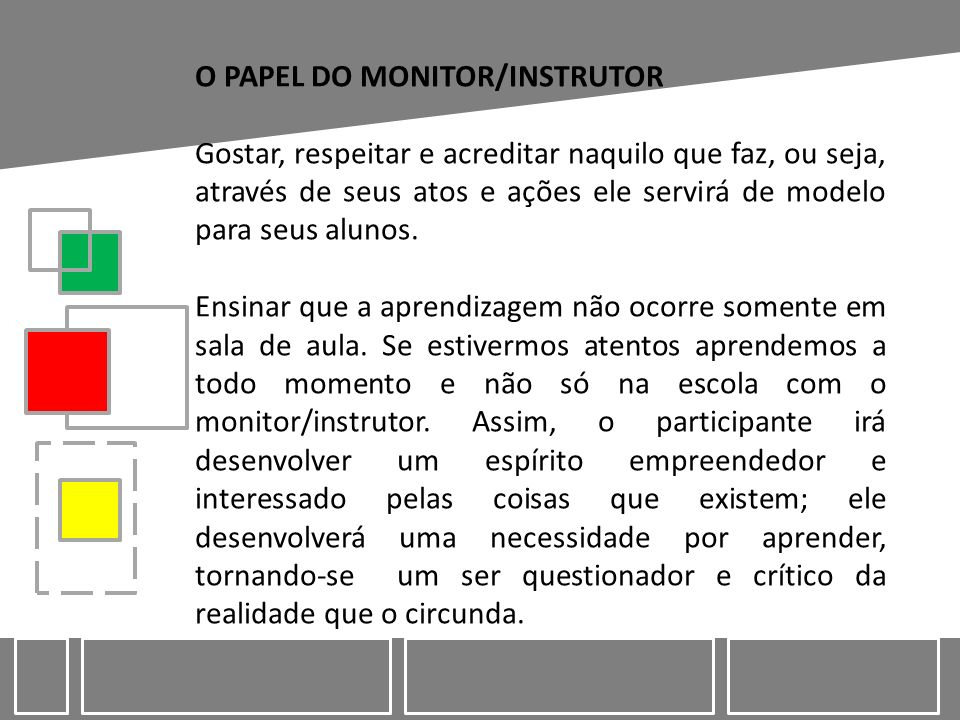 O PAPEL DO MONITOR/INSTRUTOR