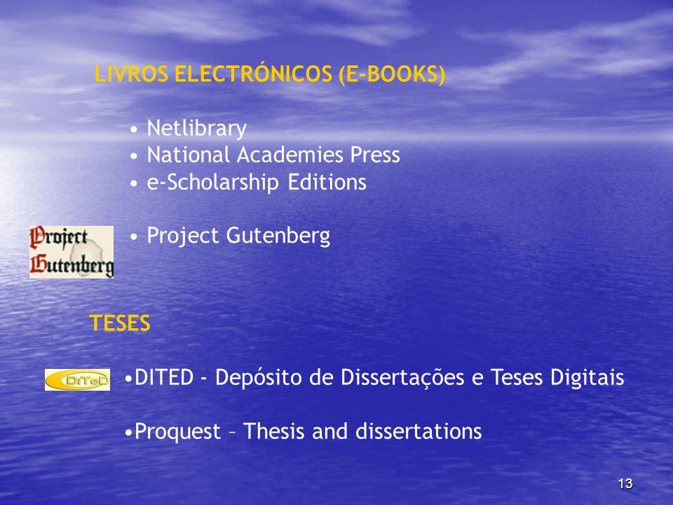 LIVROS ELECTRÓNICOS (E-BOOKS)