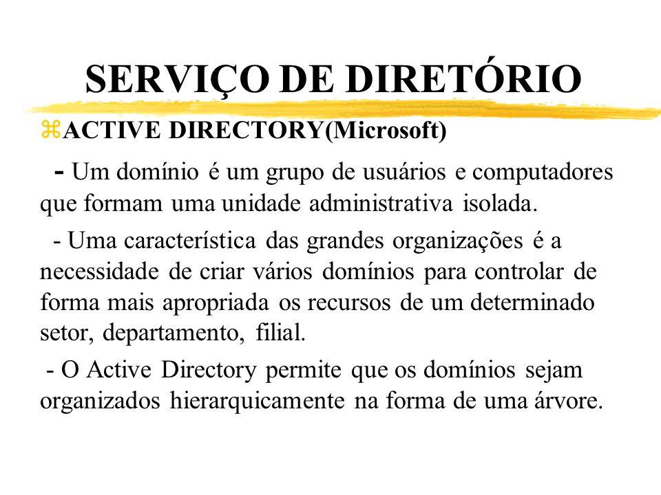 SERVIÇO DE DIRETÓRIO ACTIVE DIRECTORY(Microsoft) - Um domínio é um grupo de usuários e computadores que formam uma unidade administrativa isolada.