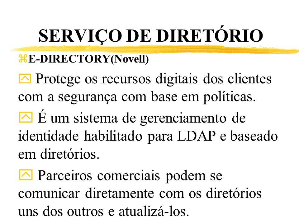 SERVIÇO DE DIRETÓRIO E-DIRECTORY(Novell) Protege os recursos digitais dos clientes com a segurança com base em políticas.