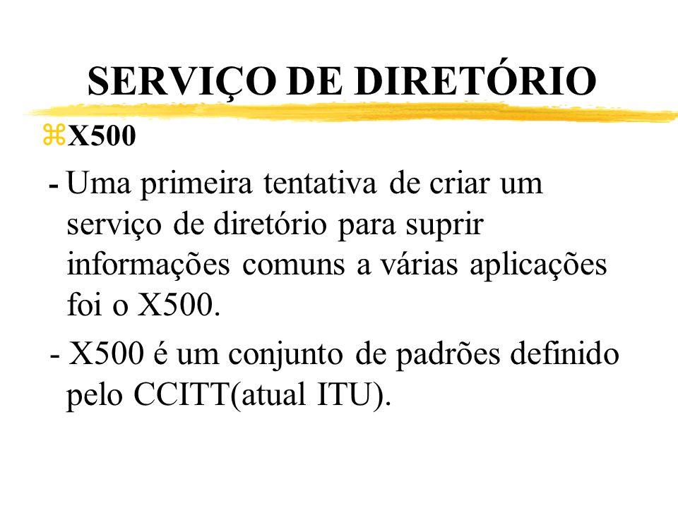 SERVIÇO DE DIRETÓRIO X500. - Uma primeira tentativa de criar um serviço de diretório para suprir informações comuns a várias aplicações foi o X500.