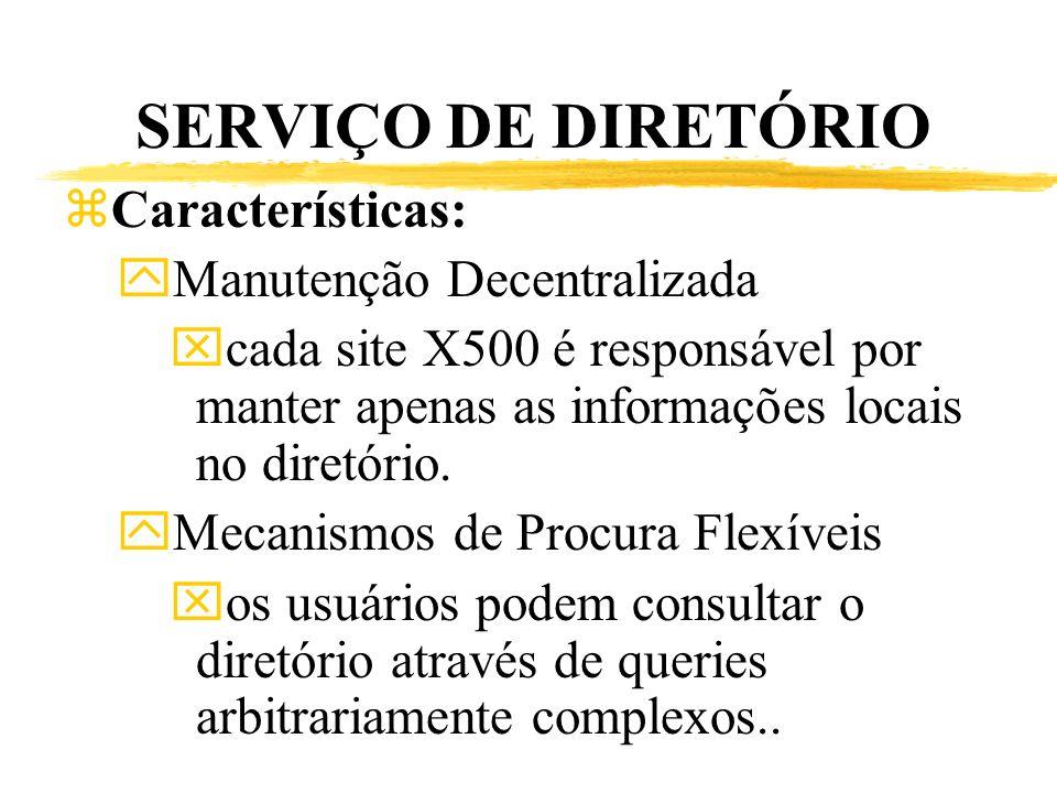 SERVIÇO DE DIRETÓRIO Características: Manutenção Decentralizada