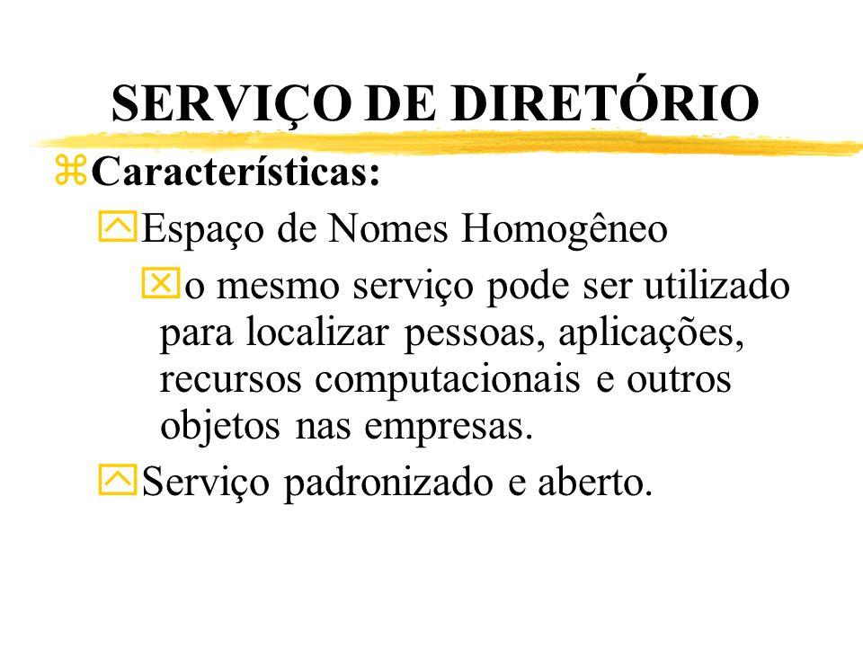 SERVIÇO DE DIRETÓRIO Características: Espaço de Nomes Homogêneo