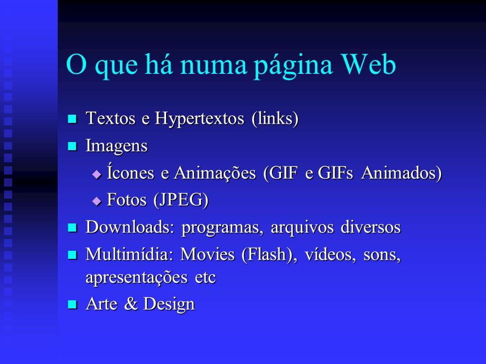 O que há numa página Web Textos e Hypertextos (links) Imagens