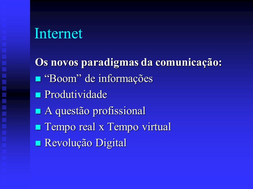 Internet Os novos paradigmas da comunicação: Boom de informações