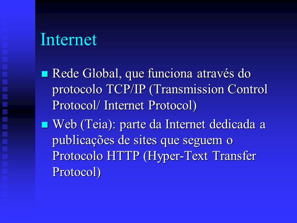 Internet Rede Global, que funciona através do protocolo TCP/IP (Transmission Control Protocol/ Internet Protocol)