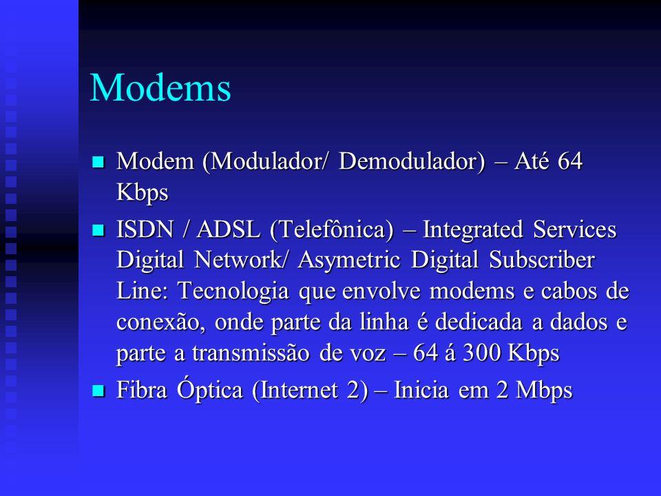 Modems Modem (Modulador/ Demodulador) – Até 64 Kbps