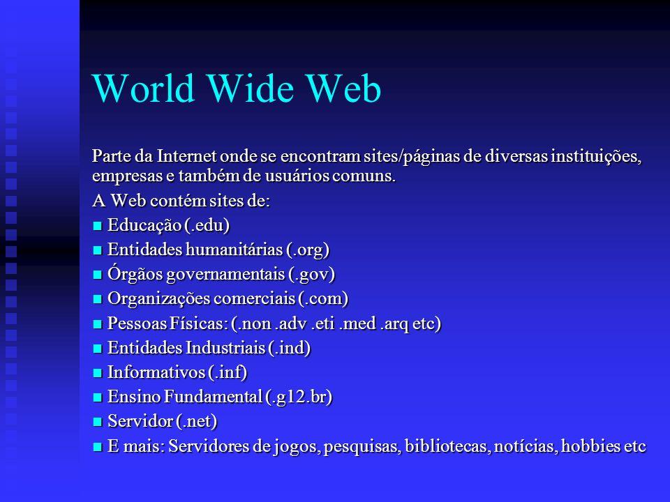 World Wide Web Parte da Internet onde se encontram sites/páginas de diversas instituições, empresas e também de usuários comuns.