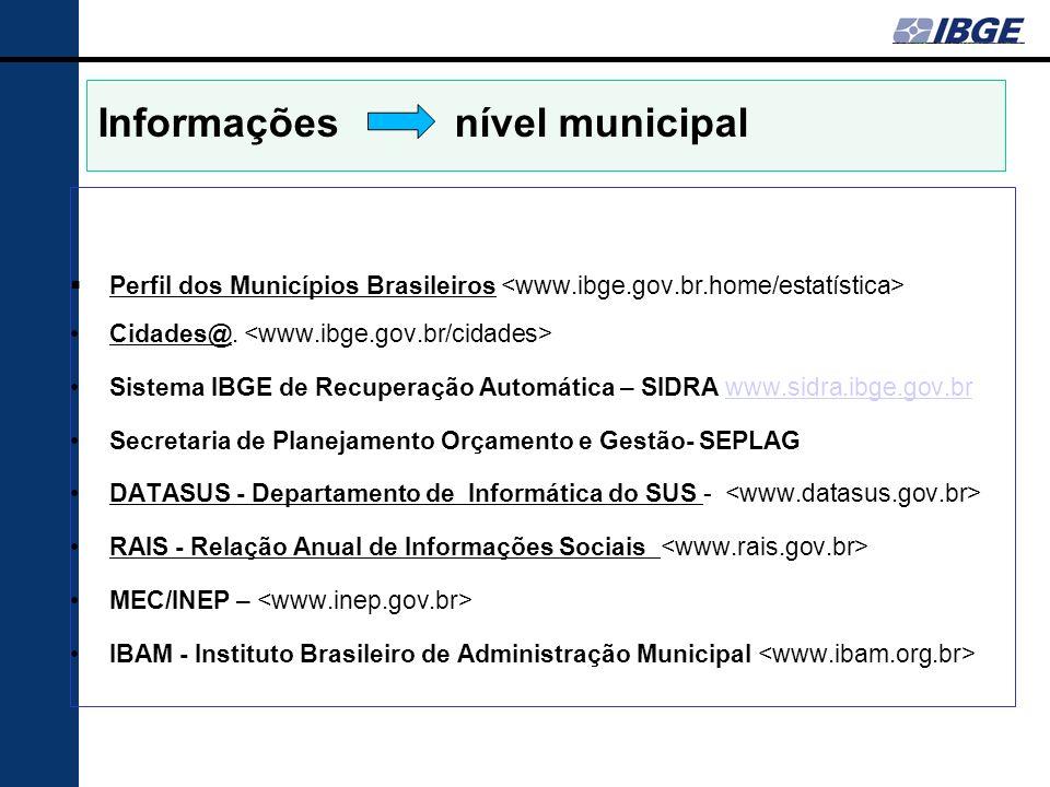 Informações nível municipal