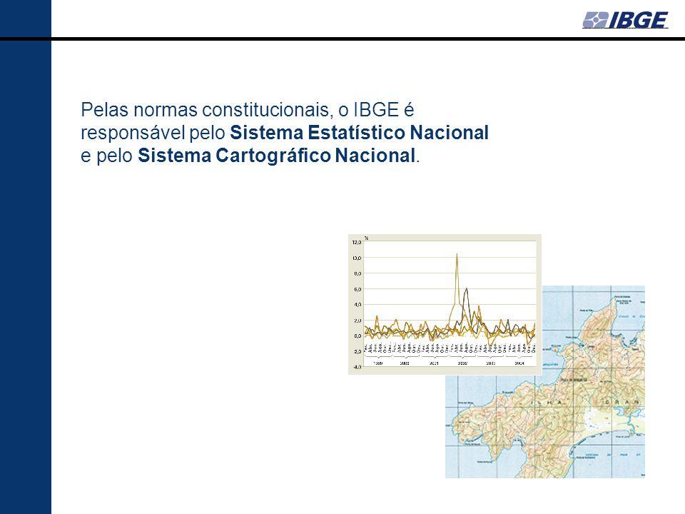 Pelas normas constitucionais, o IBGE é responsável pelo Sistema Estatístico Nacional e pelo Sistema Cartográfico Nacional.