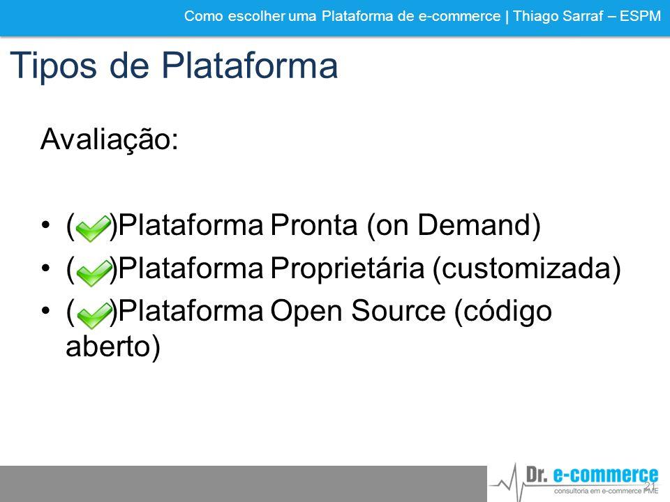 Tipos de Plataforma Avaliação: ( )Plataforma Pronta (on Demand)