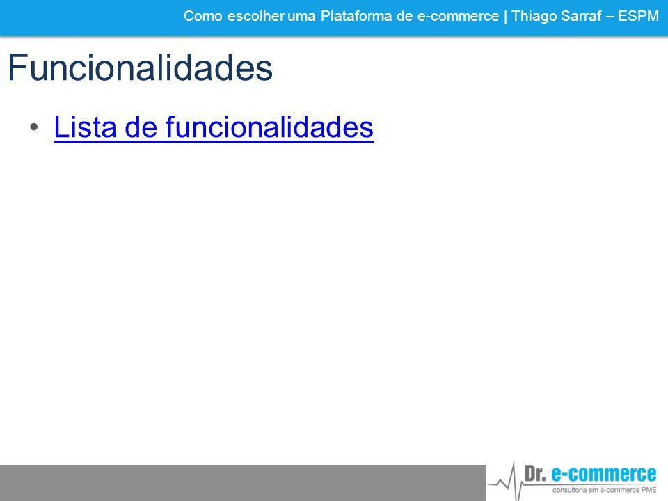 Funcionalidades Lista de funcionalidades