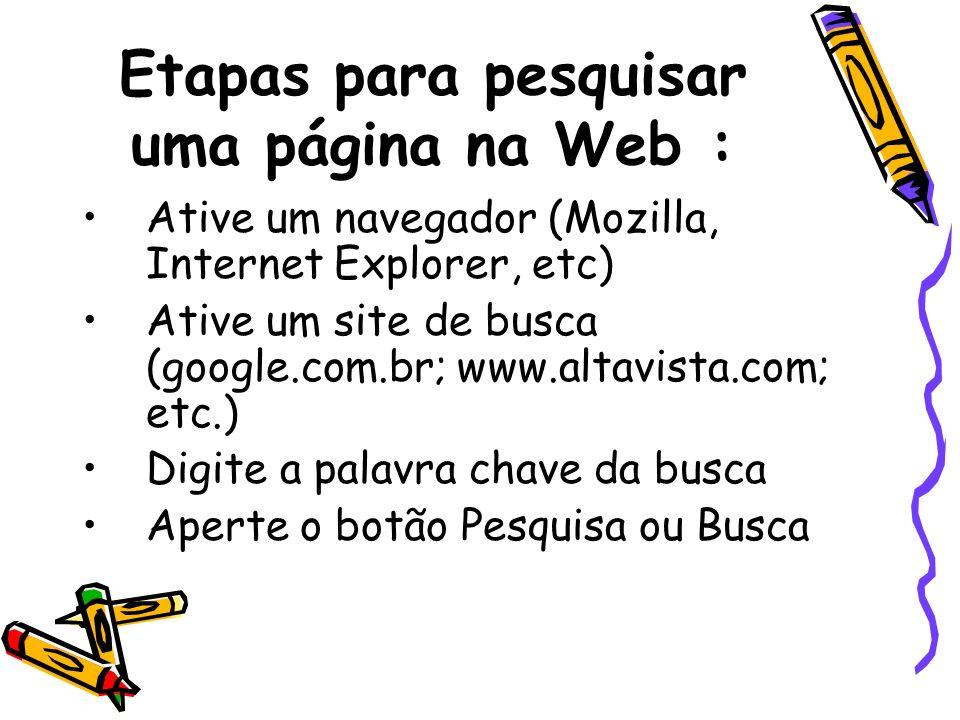 Etapas para pesquisar uma página na Web :