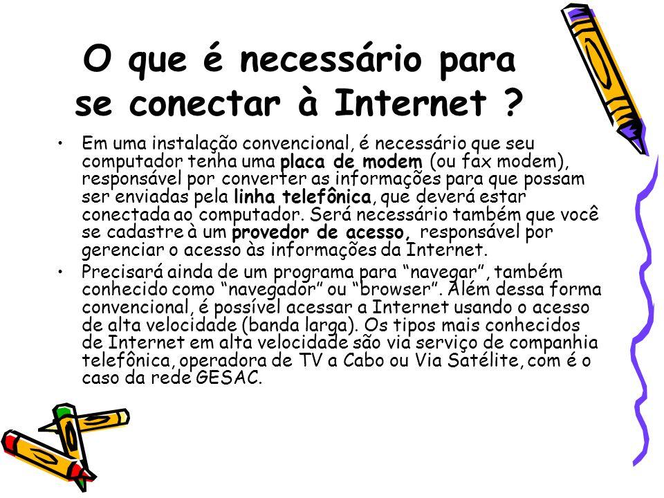 O que é necessário para se conectar à Internet