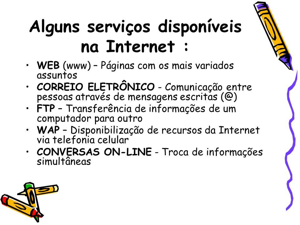 Alguns serviços disponíveis na Internet :