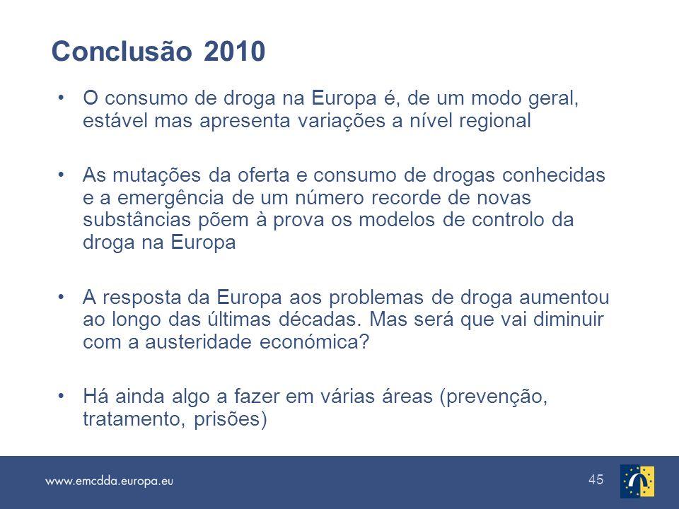 Conclusão 2010 O consumo de droga na Europa é, de um modo geral, estável mas apresenta variações a nível regional.