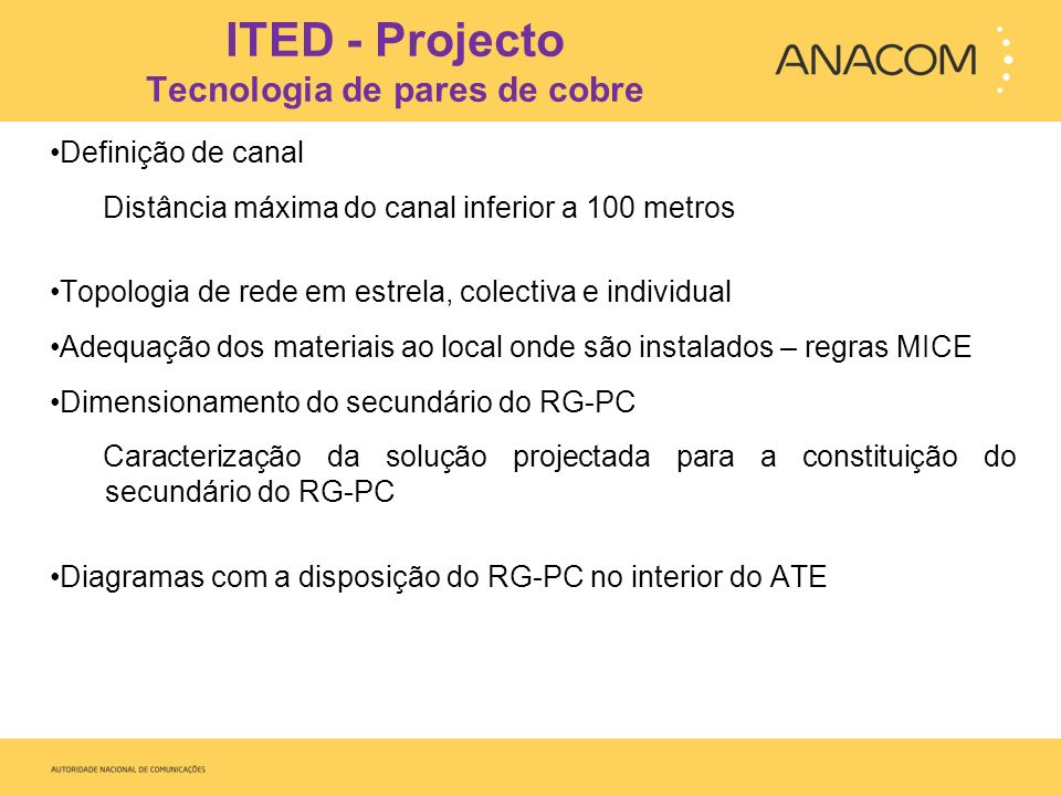 ITED - Projecto Tecnologia de pares de cobre