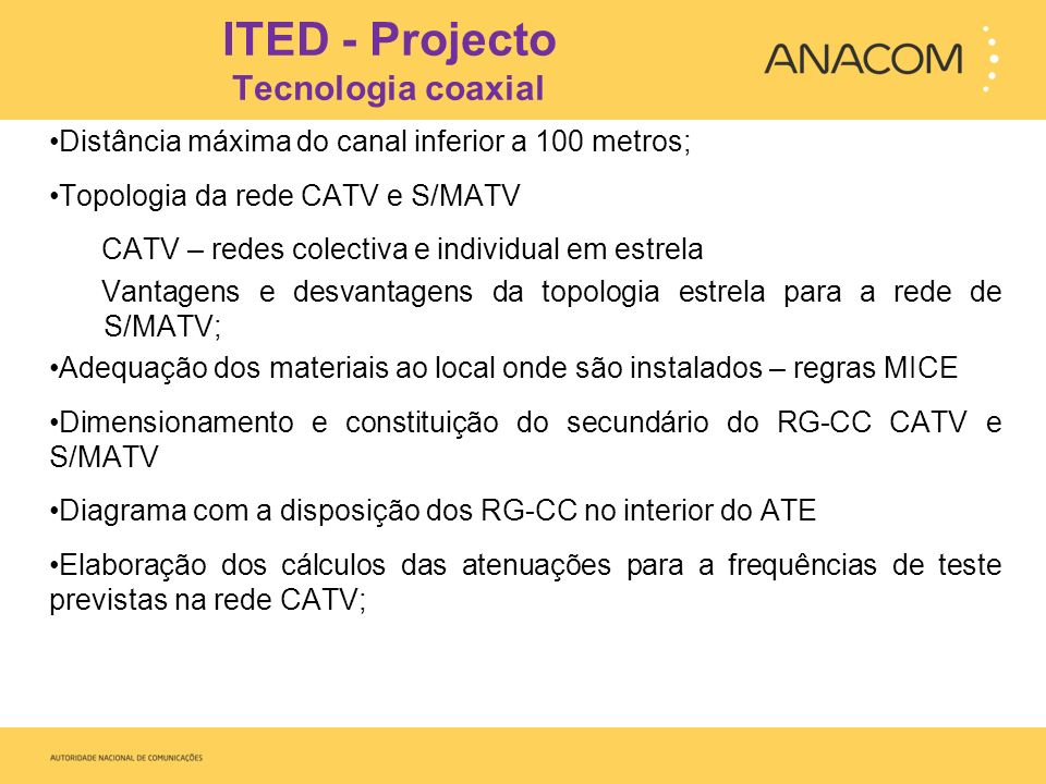 ITED - Projecto Tecnologia coaxial