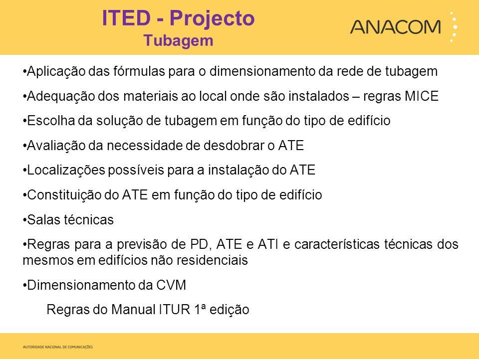 ITED - Projecto Tubagem
