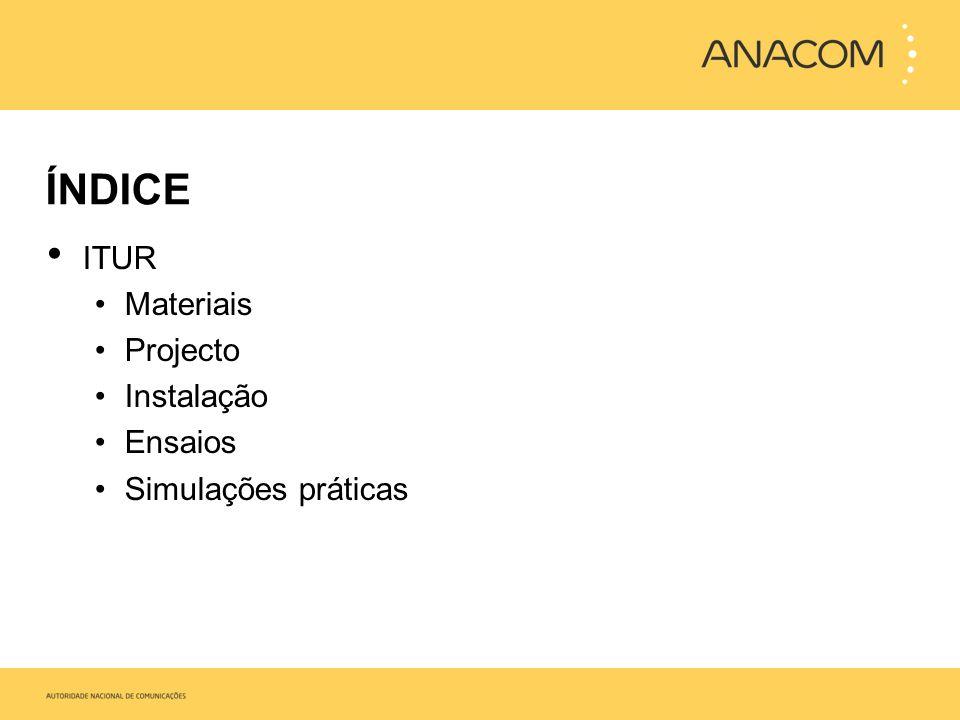 ITUR Materiais Projecto Instalação Ensaios Simulações práticas
