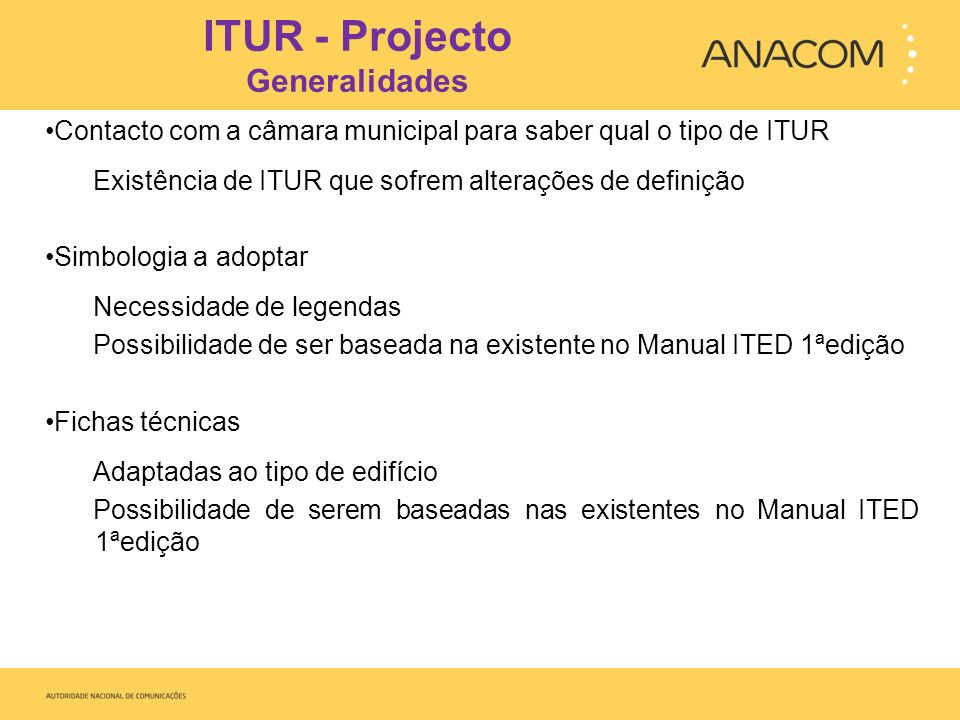ITUR - Projecto Generalidades