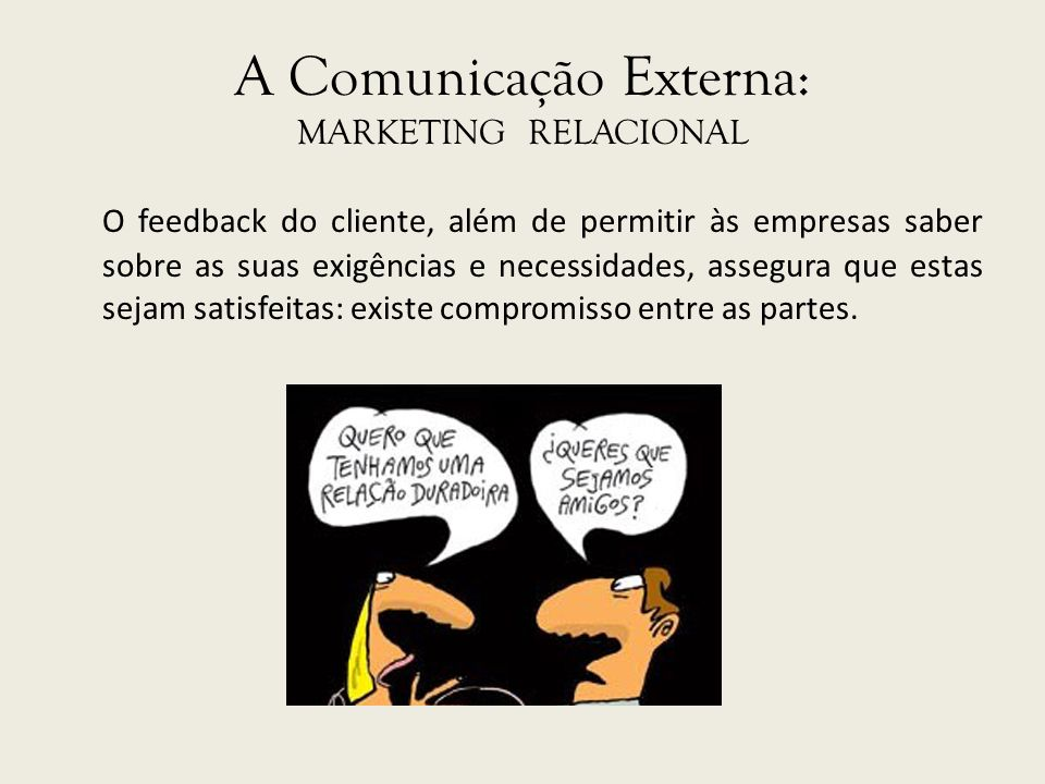 A Comunicação Externa: MARKETING RELACIONAL