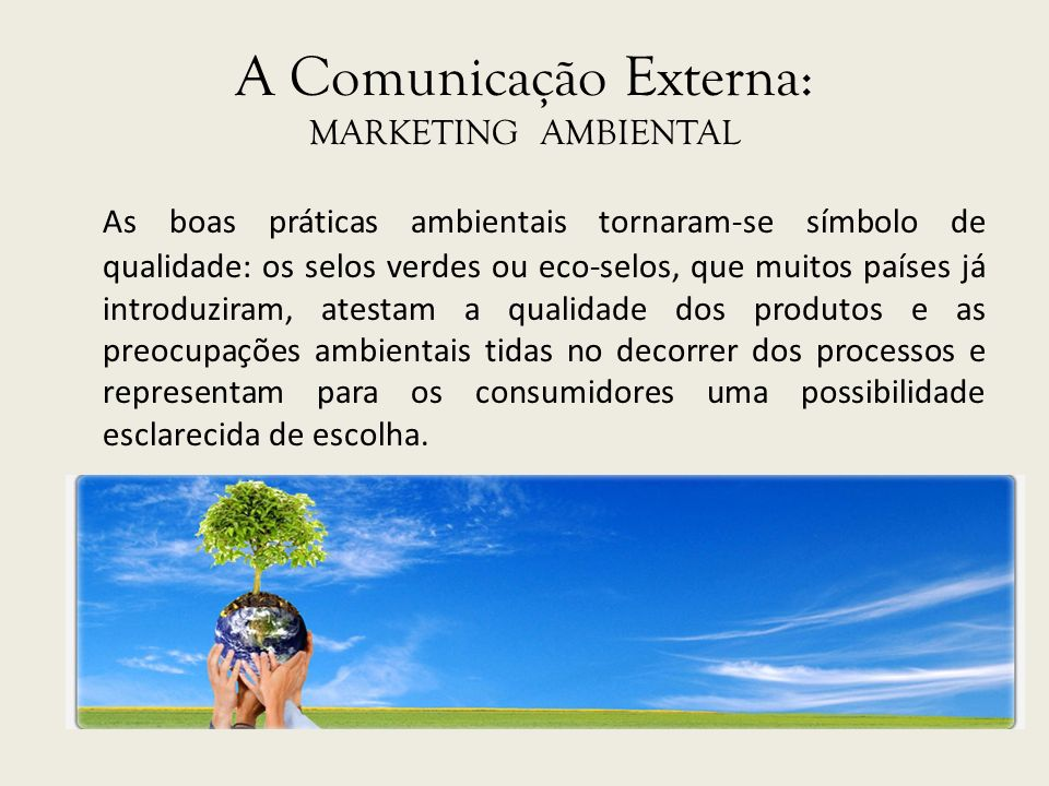A Comunicação Externa: MARKETING AMBIENTAL