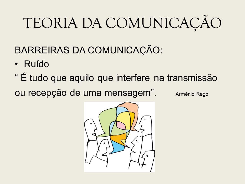 TEORIA DA COMUNICAÇÃO BARREIRAS DA COMUNICAÇÃO: Ruído