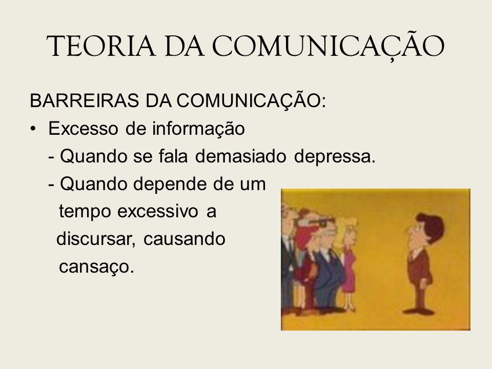 TEORIA DA COMUNICAÇÃO BARREIRAS DA COMUNICAÇÃO: Excesso de informação