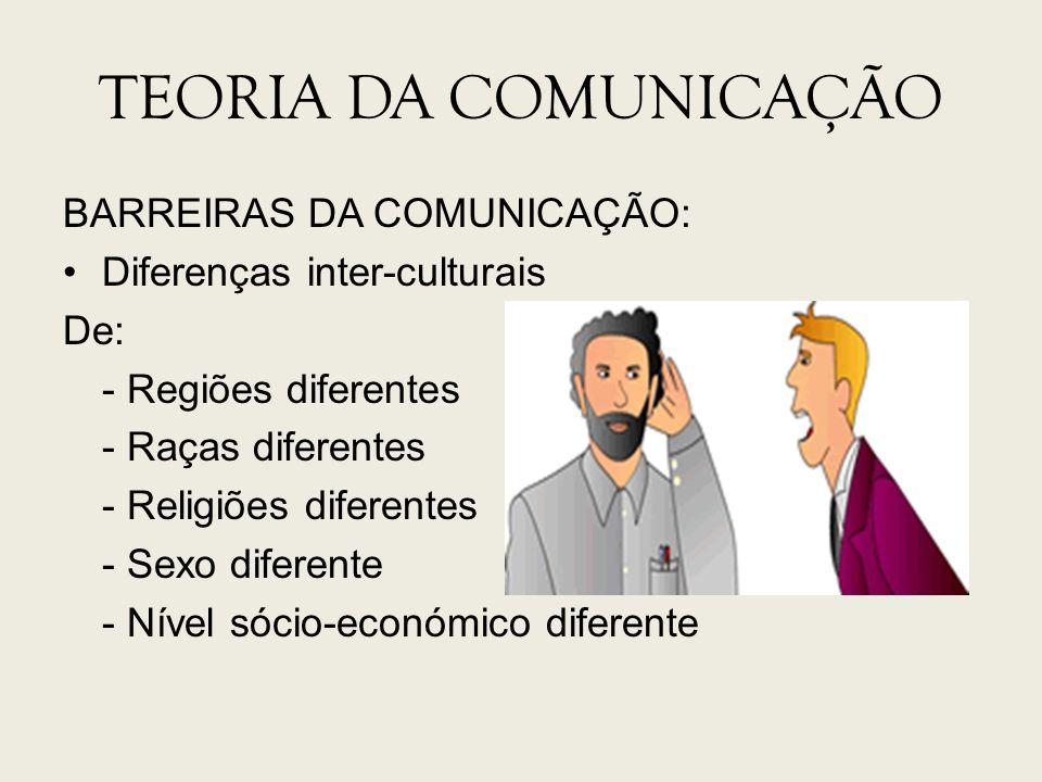 TEORIA DA COMUNICAÇÃO BARREIRAS DA COMUNICAÇÃO: