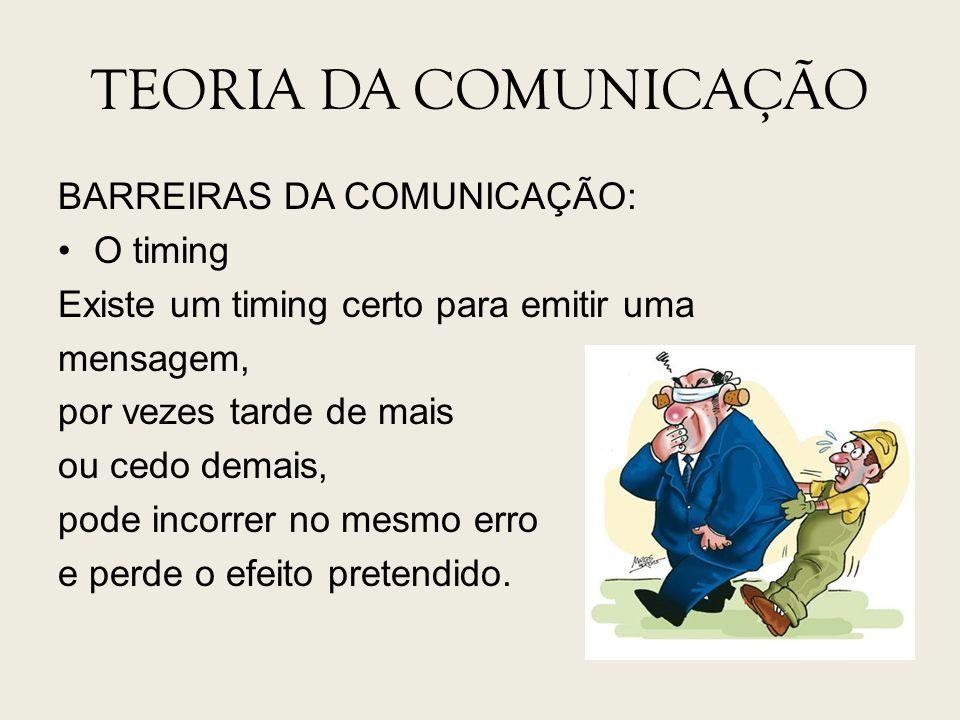 TEORIA DA COMUNICAÇÃO BARREIRAS DA COMUNICAÇÃO: O timing