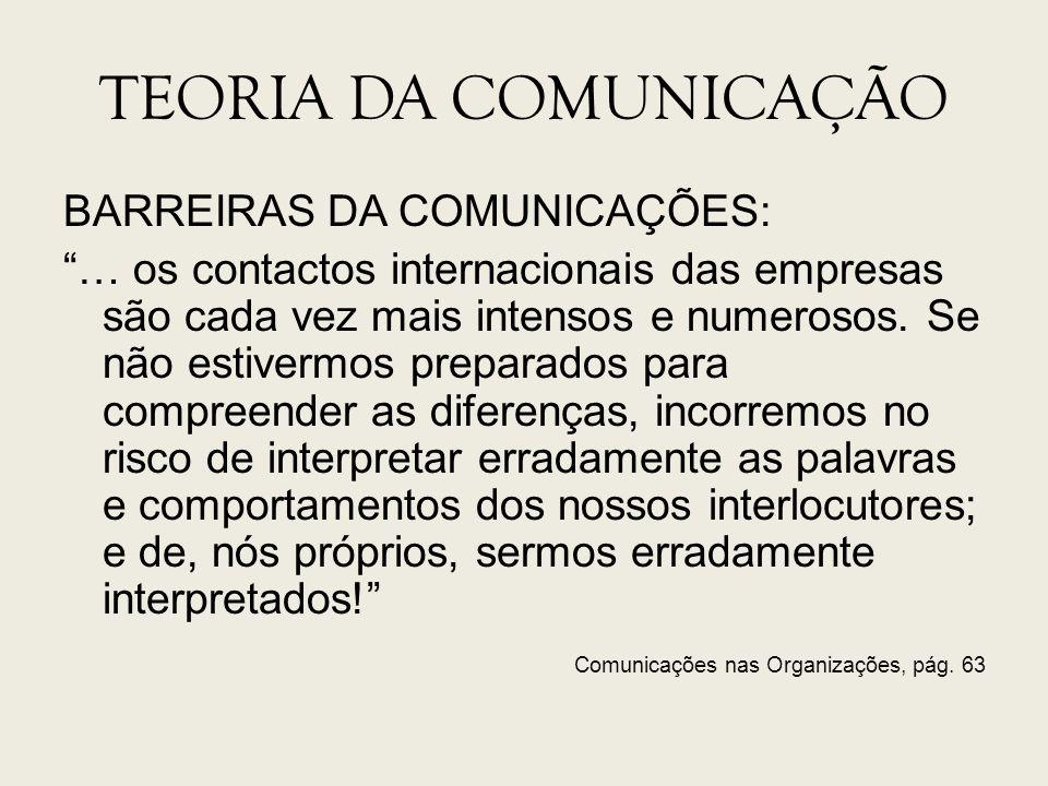 TEORIA DA COMUNICAÇÃO Comunicações nas Organizações, pág. 63