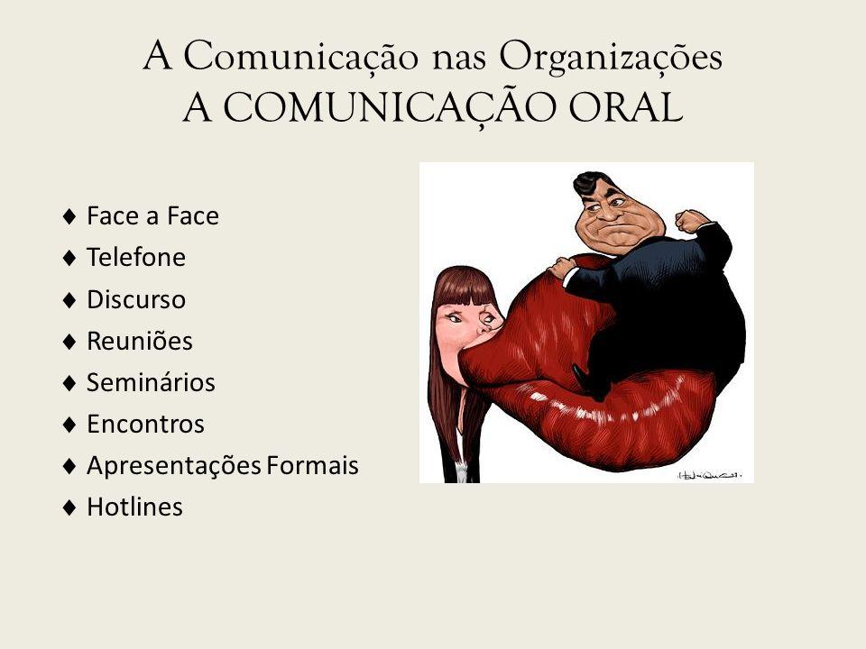 A Comunicação nas Organizações A COMUNICAÇÃO ORAL
